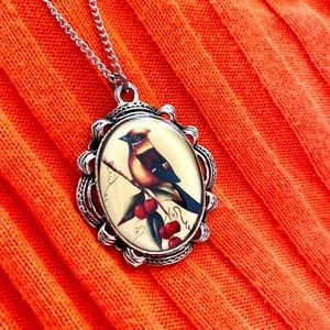 Adorable big bird pendant silver necklace